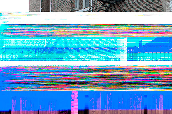 A glitched photograph of a building