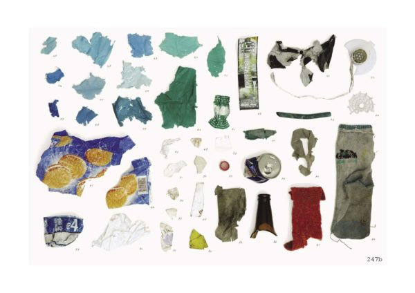 Plastic fragments found at Haarlem Oost. Page-spread from 'Atlas Haarlem Oost' by Irene Fortuyn