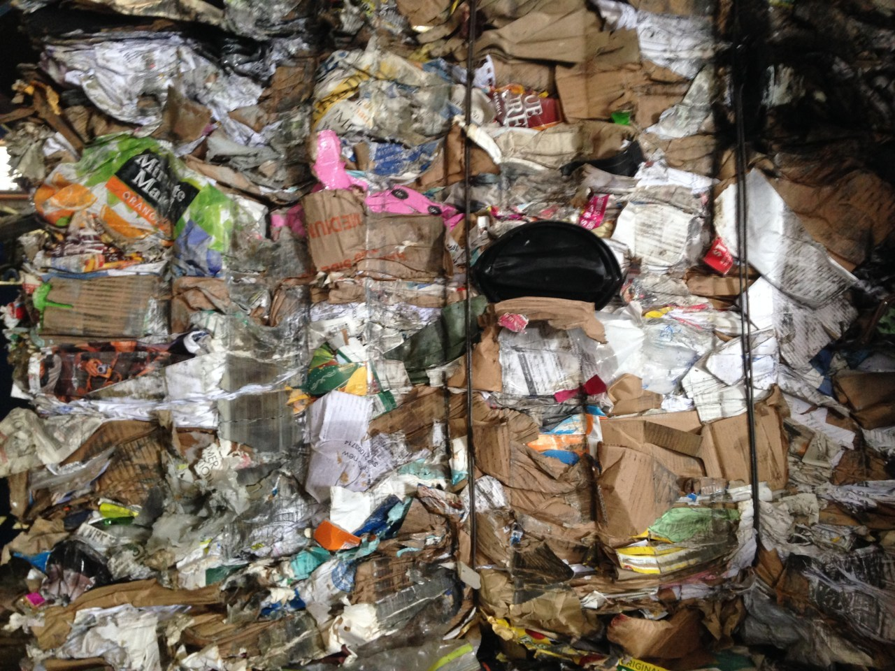 A lone plastic coffee cover among paper in a recycling bail. Photo: Max Liboiron.