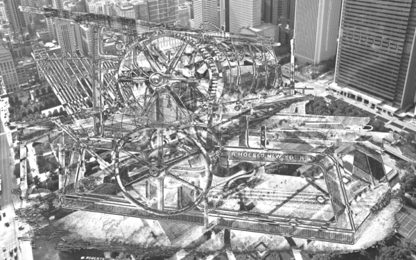 Black and white digital collage showing machines and a cityscape