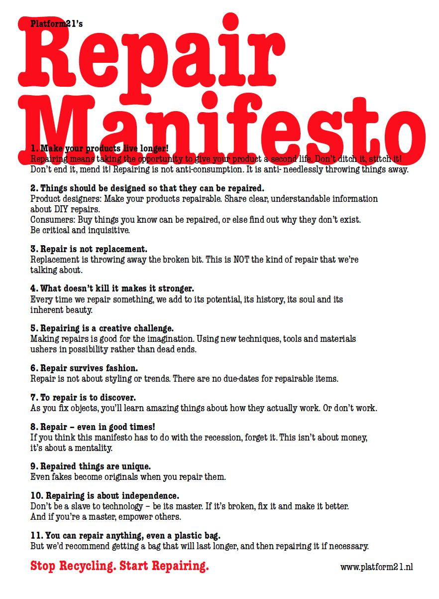 The Repair Manifesto, by Platform21