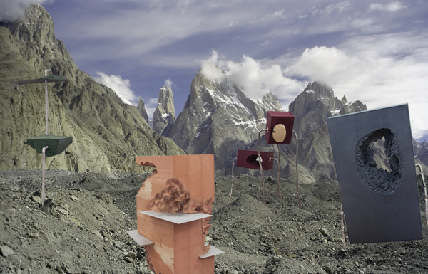 Experimental objects collaged into landscape by Arjen Witteveen for his project  Antroposion, 2018