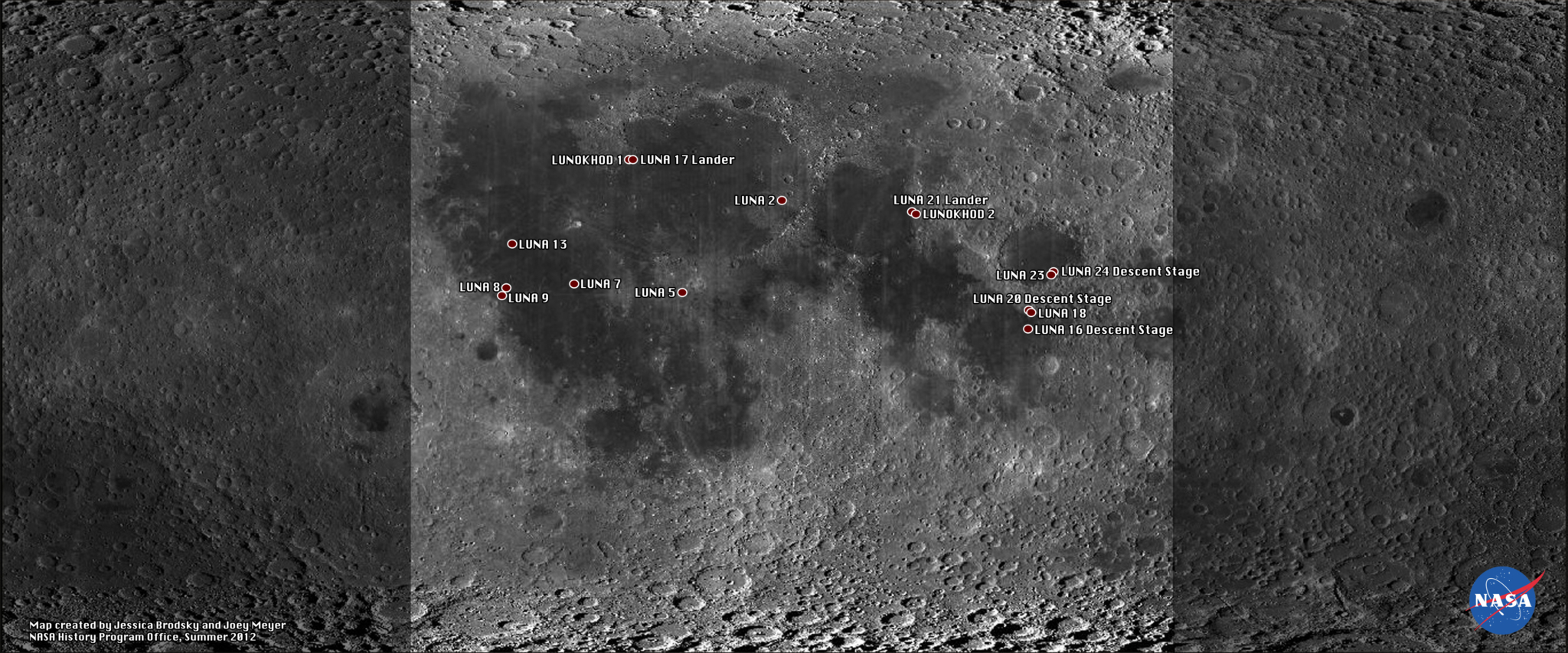 Map of Soviet Artefacts on the Moon