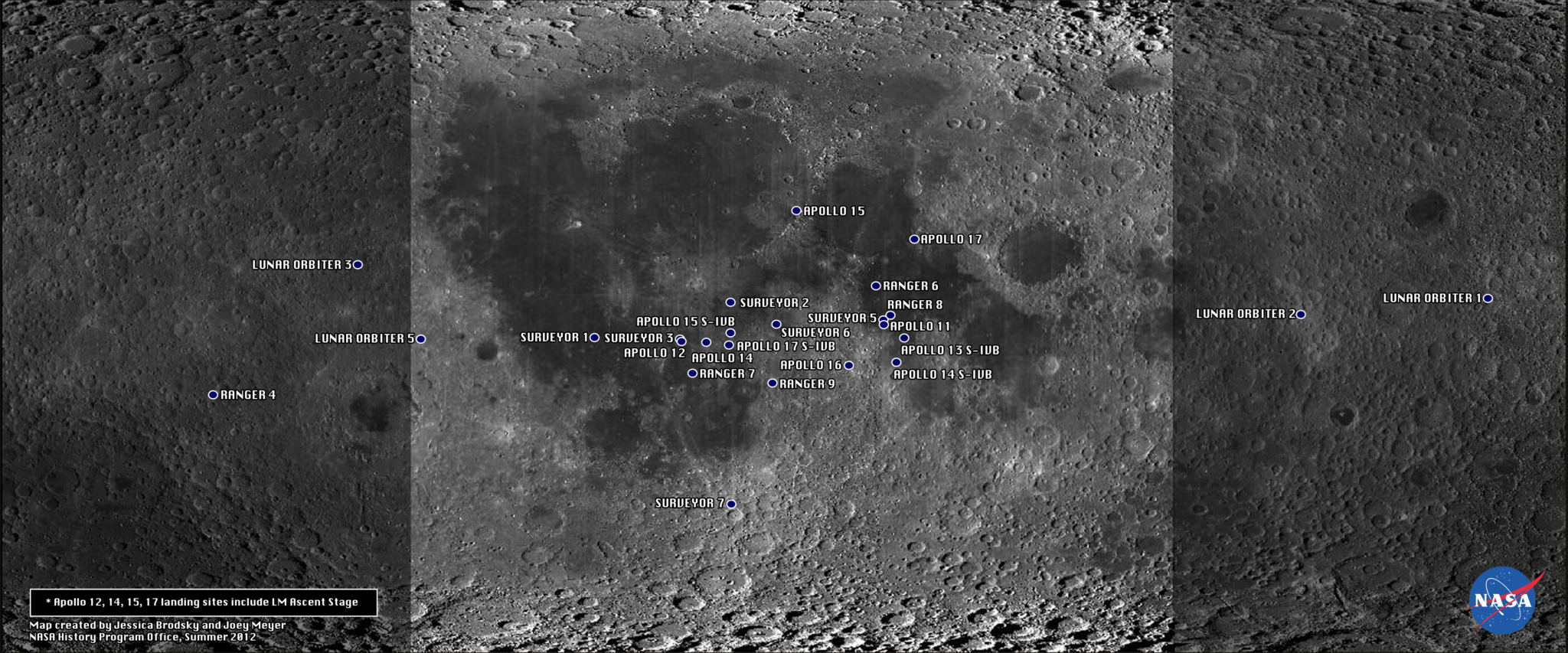 Map of U.S. Artefacts on the Moon