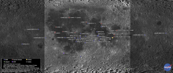 A map of the moon's surface with various objects pinpointed onto in