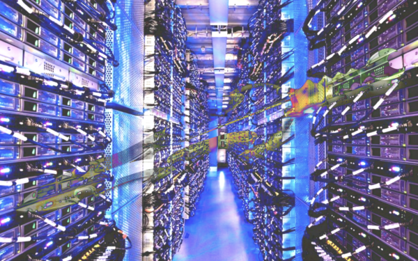Digital collage showing interior of a data centre in luminescent blue