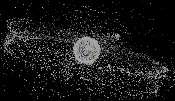 "Still from 'Adrift' showing the space junk in earths orbit by Cath Le Couteur and Nick Ryan, 07.43"", 2017"