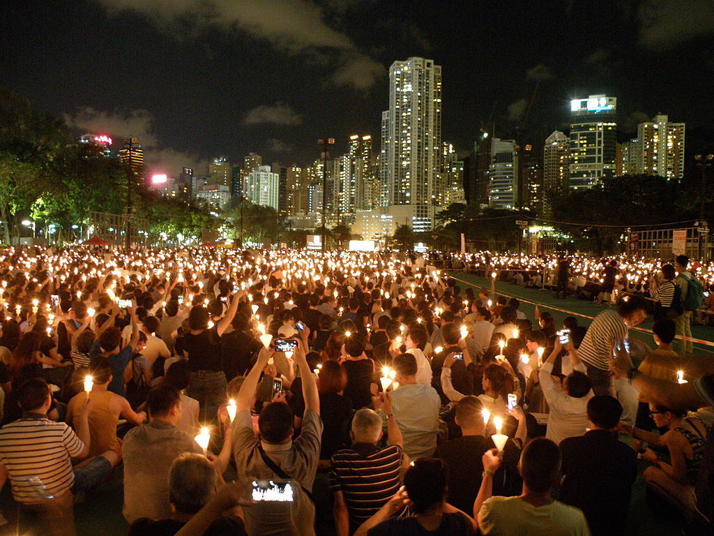 Candlelight vigil for the 26th anniversary of the June 4th incident in Causeway Bay, Hong Kong