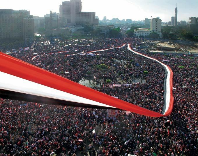 "The ""Friday of Victory"" after Hosni Mubarak's fall, Tahrir Square, Cairo, Egypt"