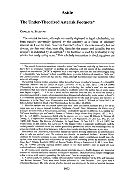 Page 1. of article on the application of the footnote in legal scholarship, consisting mainly of 'footnoting'