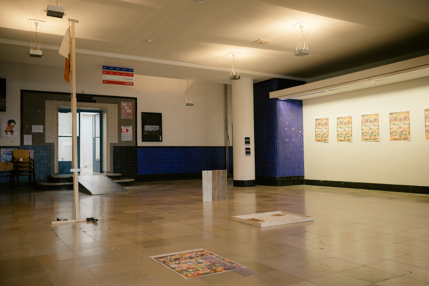 Students react to Hannes Bernard's Studium Generale lecture with an artwork presented at the entrance hall of the KABK