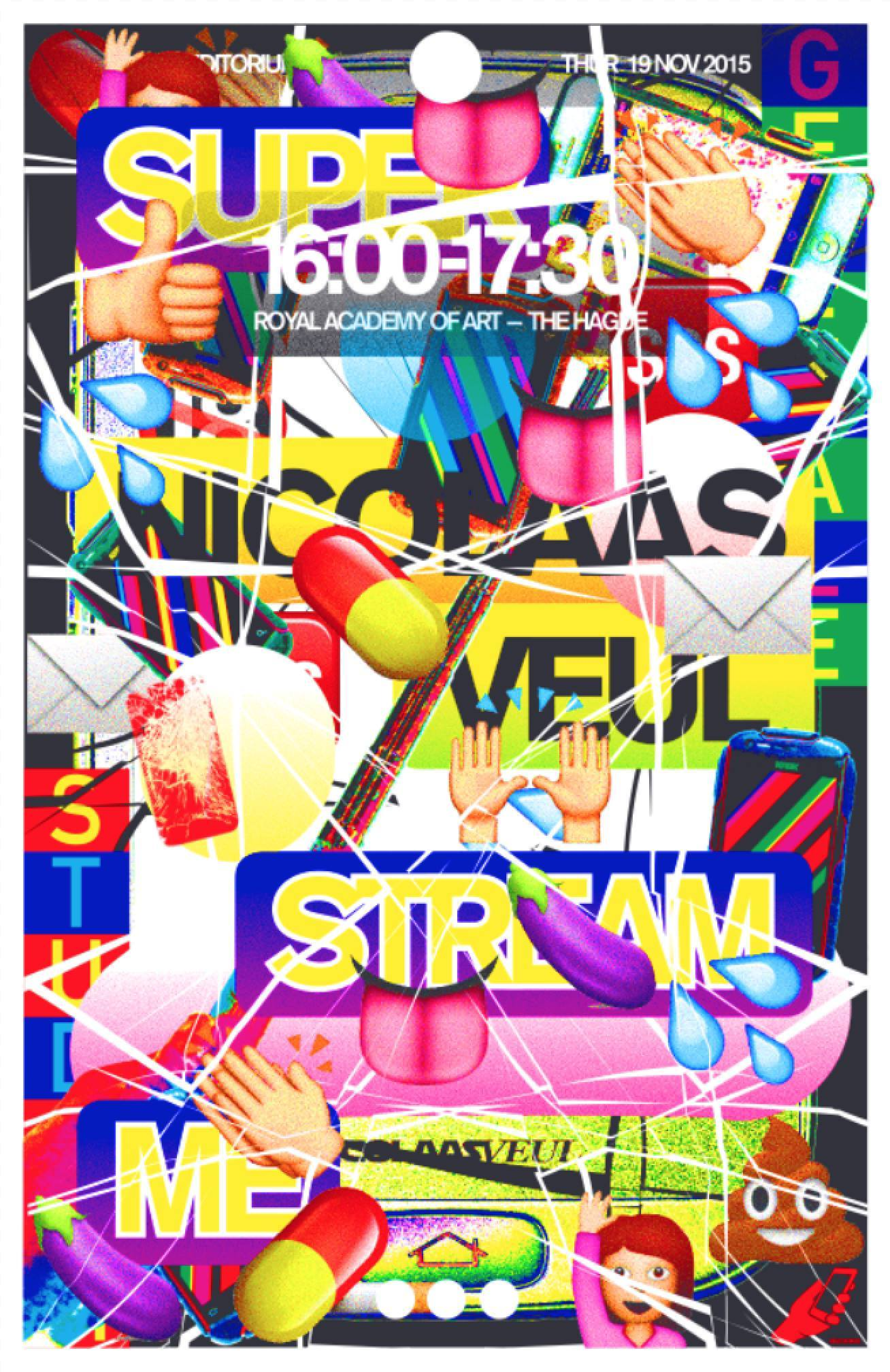 Poster for the KABK Studium Generale lecture 'Super Stream Me' by Nicolaas Veul