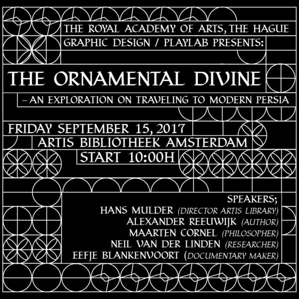 flyer for The Ornamental Divine symposium in Amsterdam organised by the Graphic Design department of the Royal Academy of Art, The Hague