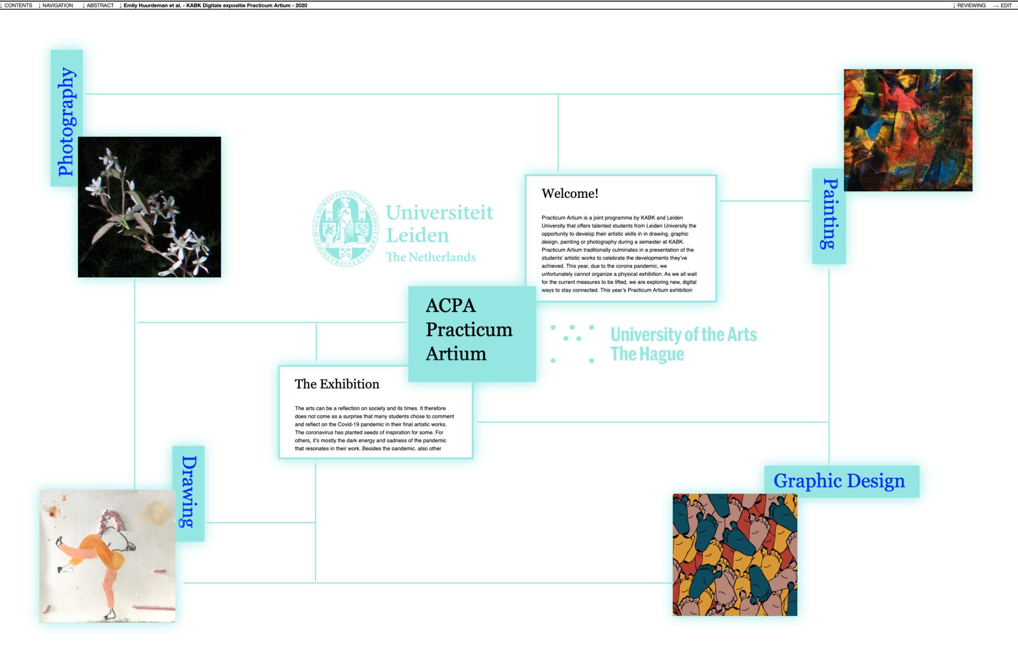 Screenshot online exhibition Practicum Artium