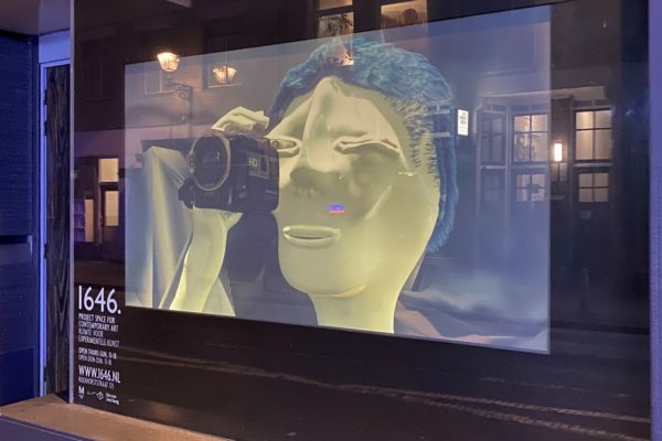 display window of 1646 project space in The Hague transformed into a temporary Street View Cinema