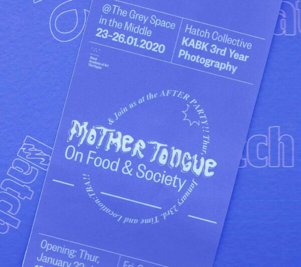 promotional material for Mother Tongue expo by Hatch photography collective