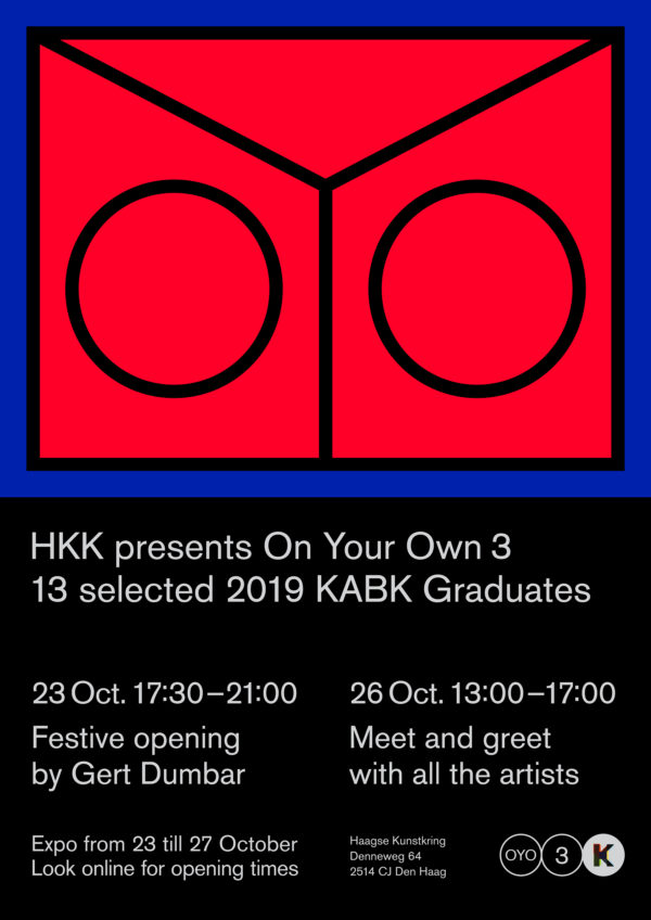 Poster for the exhibition On Your Own by 13 KABK alumni at the Haagse Kunstkring