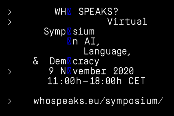 Who Speaks Virtual Symposium 9 november 2020