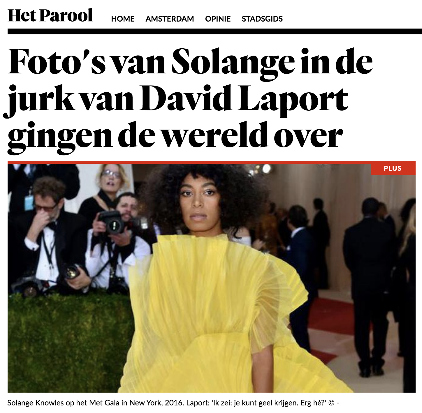 Article in Het Parool about David Laport, KABK alumnus Textile and Fashion 2012
