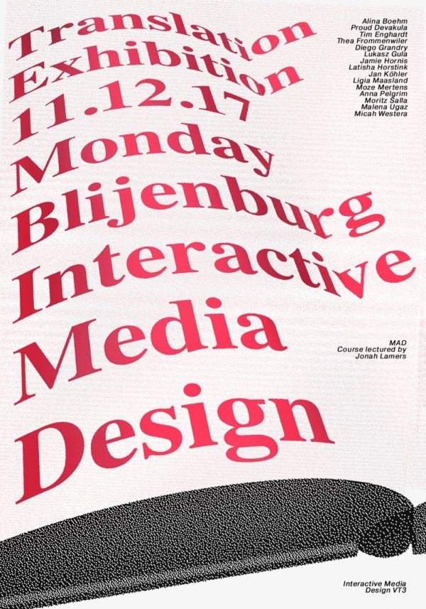 poster for the translation exhibition project by KABK Interactive Media Design students