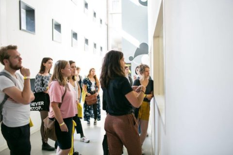 Students following a tour through the building of the Royal Academy of Art, The Hague (KABK)