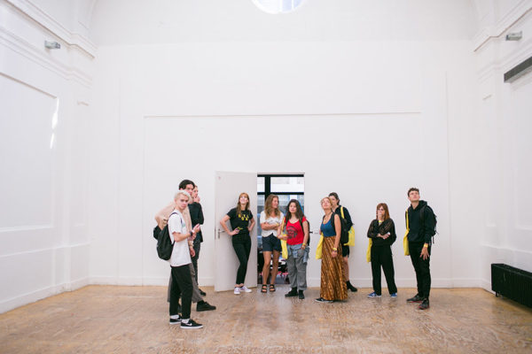 Students following a tour through the building of the Royal Academy of Art, The Hague