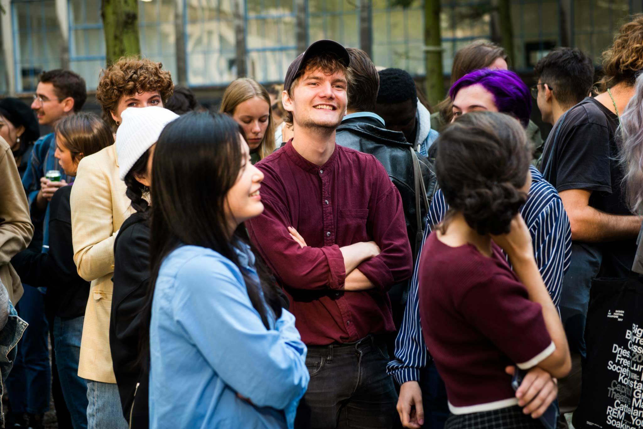 students at the KABK courtyard