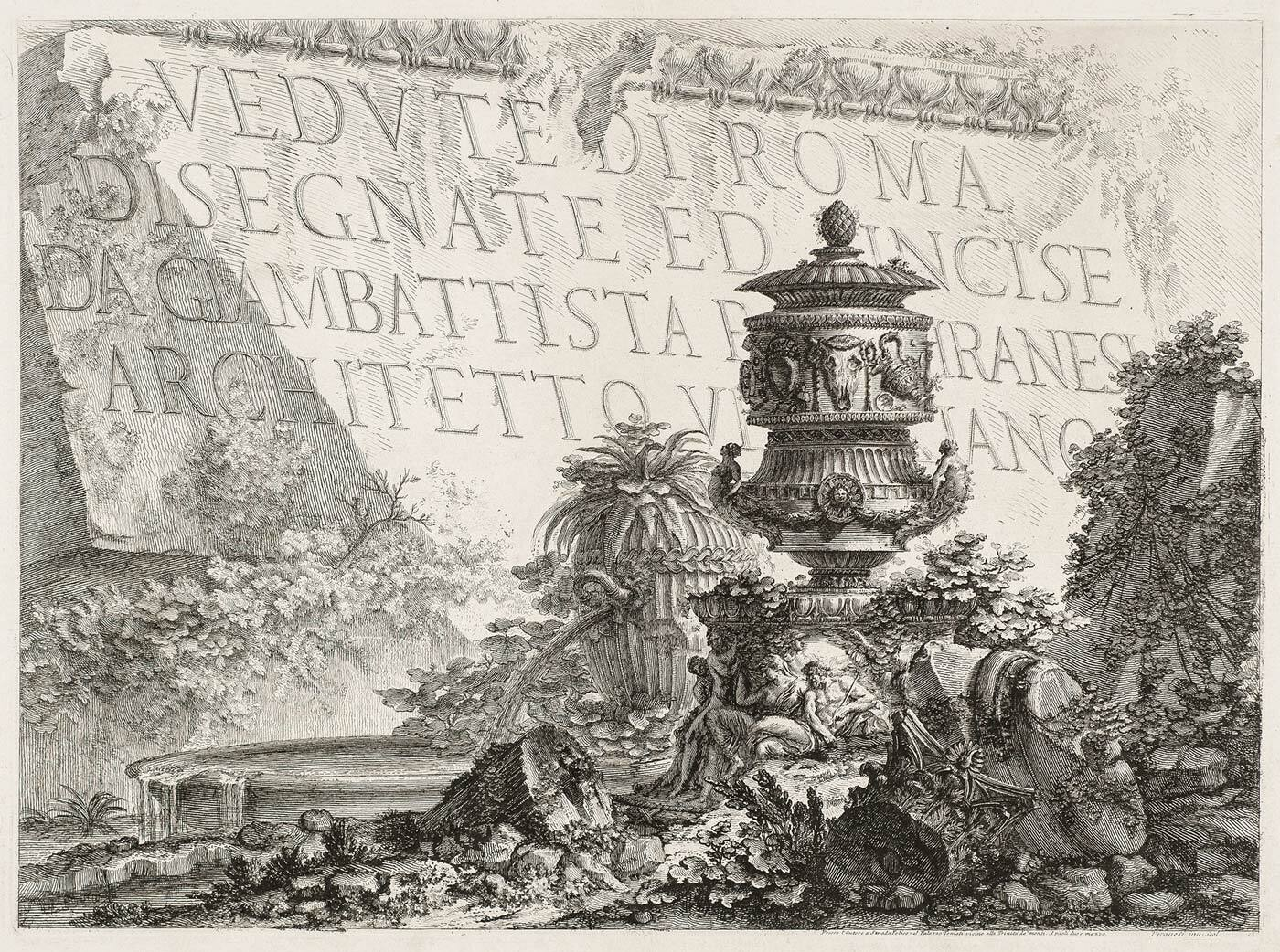 Frontispiece Vedute di Roma by Piranesi (collection KABK Library)