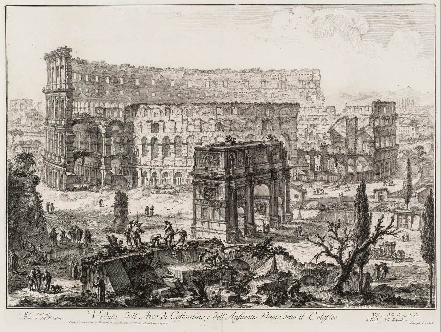 Arch of Constantine and the Colosseum, Vedute di Roma by Piranesi (collection KABK Library)