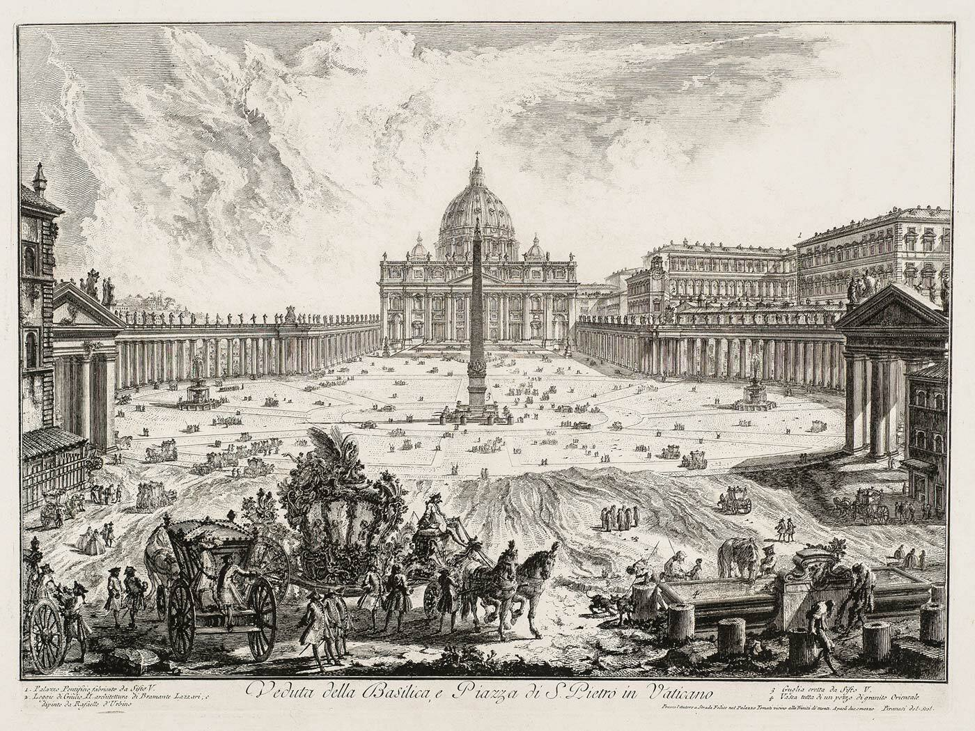 St. Peter's Square in Rome, Vedute di Roma by Piranesi (collection KABK Library)