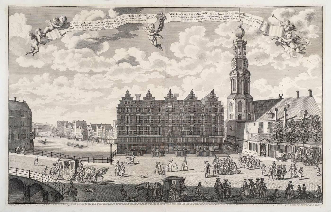 Gezicht op de Schapen Markt, naar den Reguliers Toren en de Munt, ca. 1720 by Hendrik de Leth, Amsterdam (1703- 1766) (collection Ernst Bergmans en Maya Isheim)