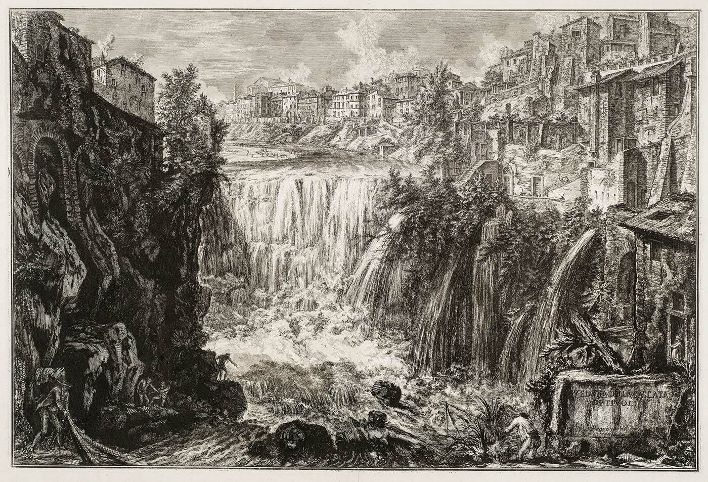 Veduta della Cascata di Tivoli, Vedute di Roma by Piranesi (collection KABK Library)
