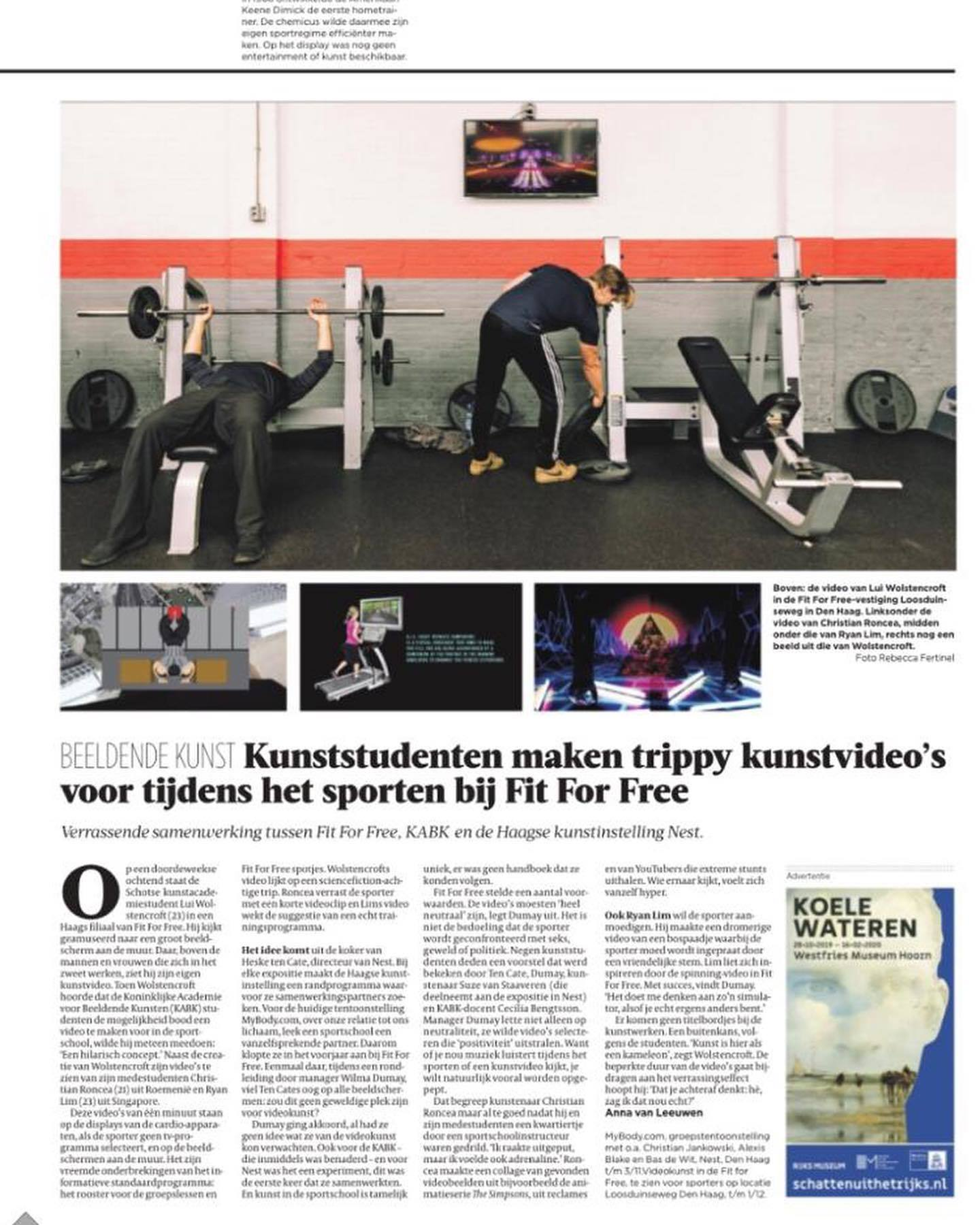 Artikel in de Volkskrant over KABK-studenten
