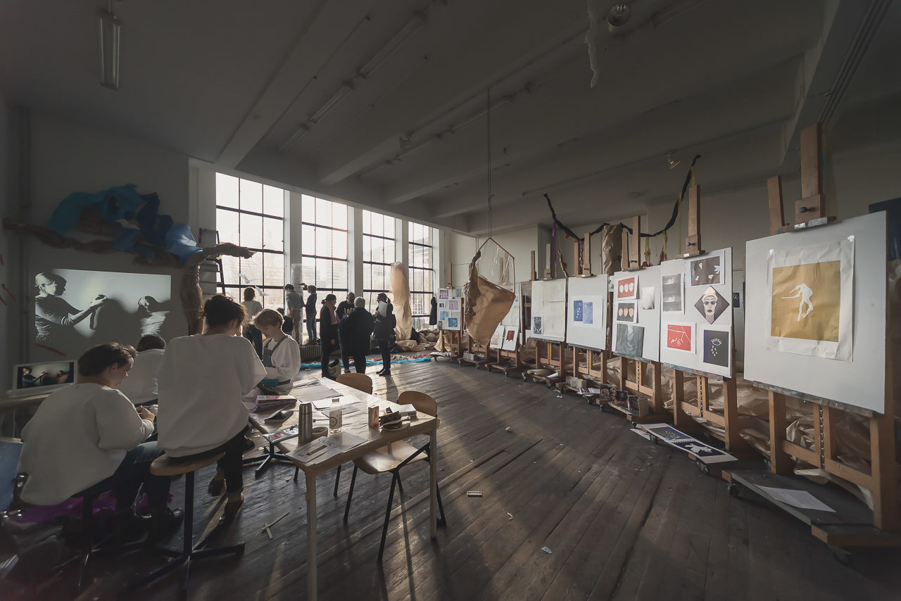 visitors at the atelier of the School for Young Talent on the Open Day 2017