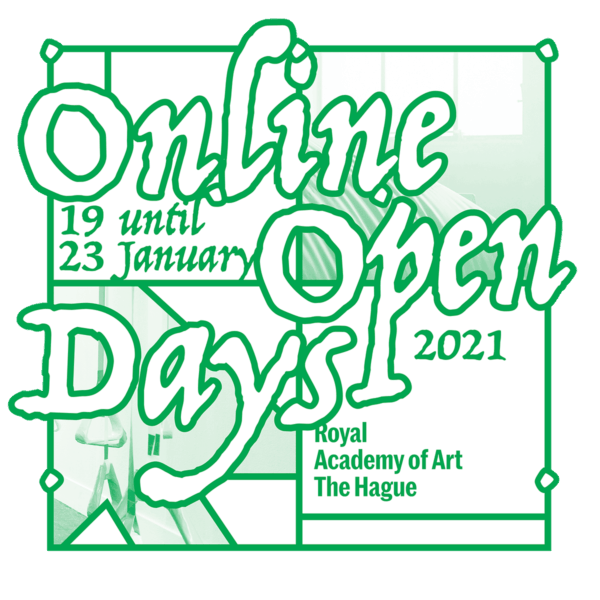 KABK Online Open Days 19 - 23 January 2021, campaign designed by Jaap Smit, alumnus BA Graphic Design 2017