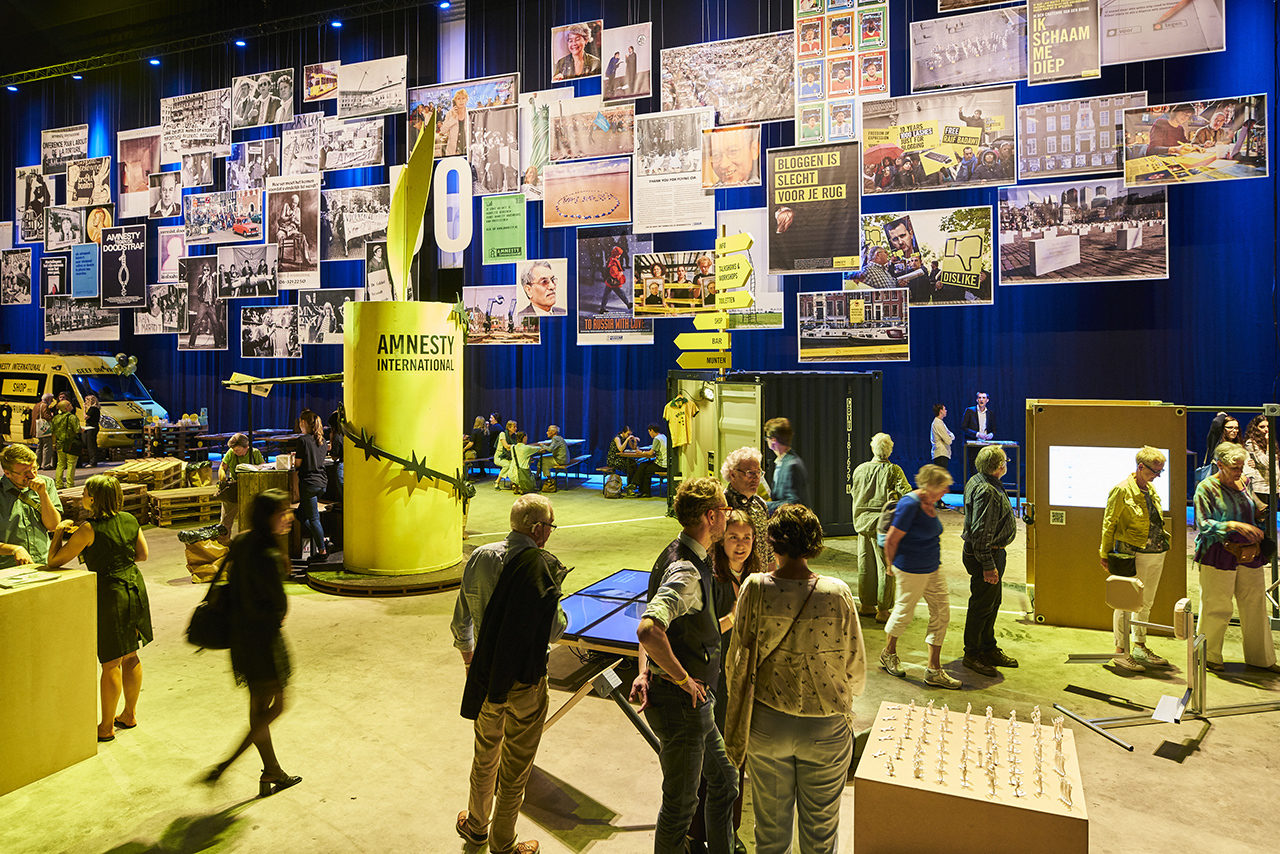 general impression of installations in the Models for Humanity expo presented during the 50 year anniversary festivities of the Dutch section of Amnesty International