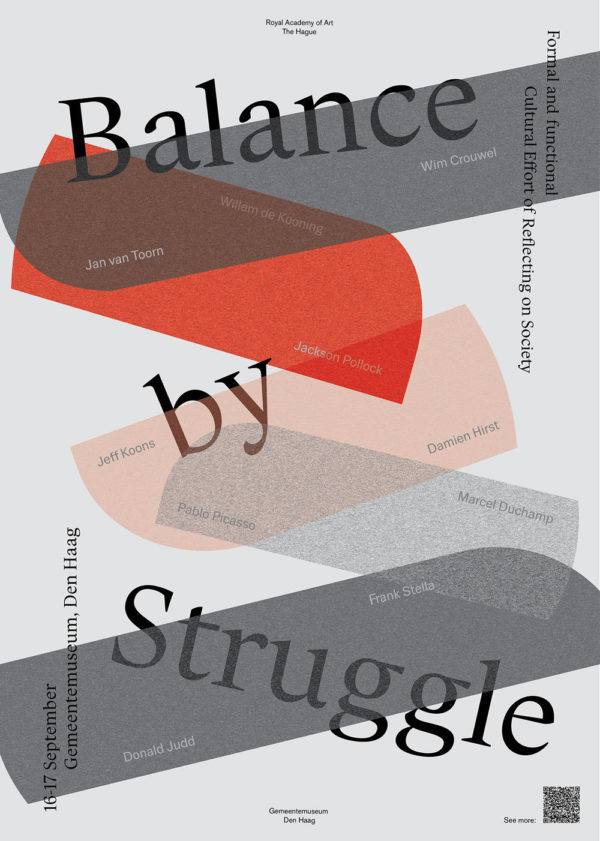 Poster for the 'Balance by Struggle' exhibition at the Gemeentemuseum