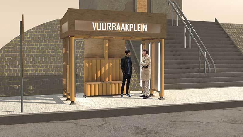 Cardboard Bus Stop design by Ilya Doreanu & Ebru Güner
