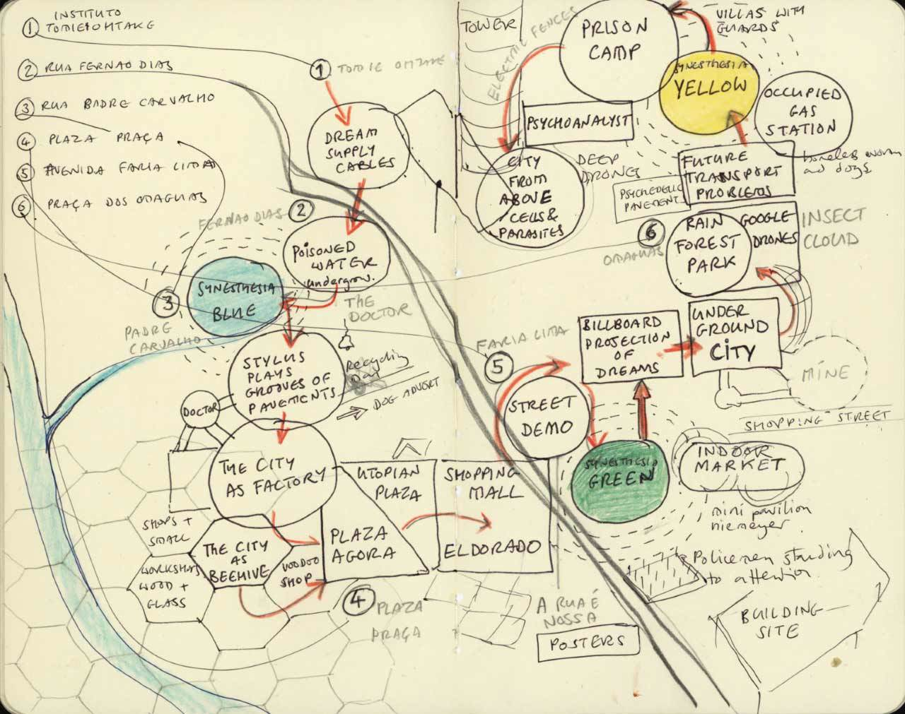 Sketch for Dream Map audio walk - photo Justin Bennett
