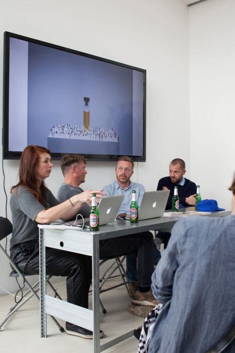 Ernst van der Hoeven and Kirsten Algera in conversation with Lernert & Sander during KABK's RESET presentation at Salone del Mobile 2016