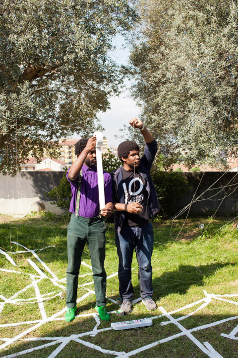 Stand-up performance by Quinsy Gario and his brother during KABK's RESET presentation at the Salone del Mobile 2016