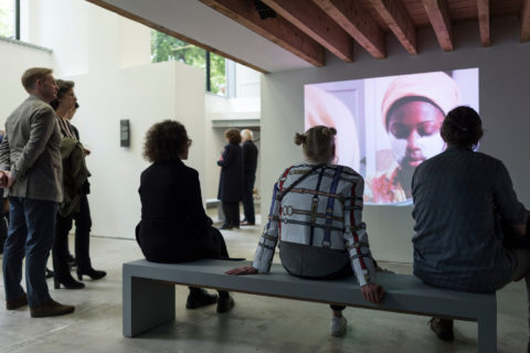 visitors at Miguel Peres dos Santos's installation during the opening of KABK presentation of My Practice, My Politics at Stroom Den Haag