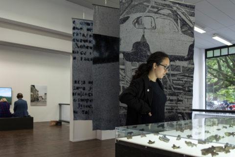 visitors at Kristina Benjocki's installation during the opening of KABK presentation of My Practice, My Politics at Stroom Den Haag